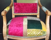 Shabby Chic Painted Patchwork Designers Guild fabric Carver Chair Arm Chair Elbow Chairs Faultily Thrown Chair