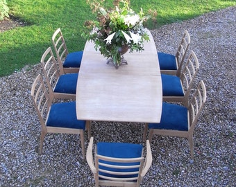 Vintage Danish Teak Mid Century Macintosh Extending Dining Table and 8 Chairs