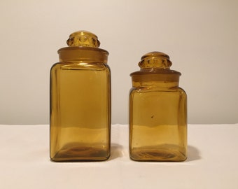 2 Vintage Amber Glass Canisters
