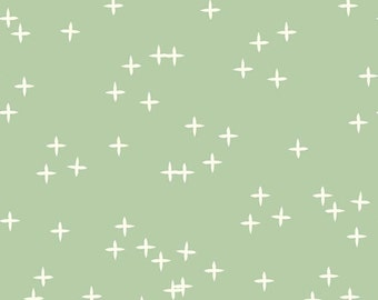 Mint Green with Twinkle Stars Organic Cotton Fabric  - Mod Basics 3 Wink by Birch Fabrics - Mint - Fabric By the Half Yard