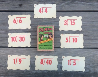 Vintage Flash Cards, Division Flash Cards, Math Flash Cards, Built Rite Flash Cards, Scalloped Flash Cards, Lot of 44