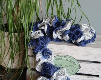 Navy Blue and Silver Grey Ruffle Scarf