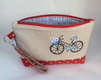 Bicycle  Wristlet, Key Fob, Zipper pouch, bike pouch, applique
