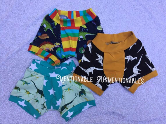 Boys Boxers - Dinosaur themed Set - Oragami Dinos, Dinos in Space, and Green Dinosaurs- Boxerwear