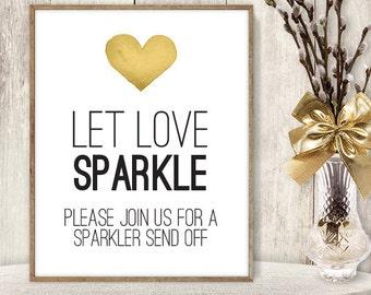 Let Love Sparkle Sign DIY / Sparkler Send Off / Yellow Gold Heart, Watercolor Heart Sign / Printable PDF Wedding Sign ▷ Instant Download
