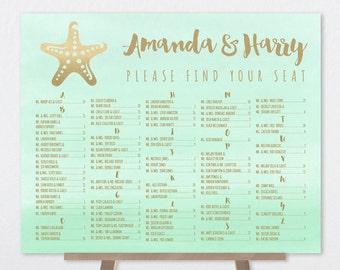 Alphabetical Wedding Seating Chart / Metallic GOLDEN MINT Green Watercolor / Gold Starfish, Beach ▷ Printable File {or} Printed & Shipped