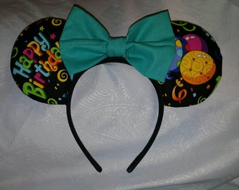 Disney inspired happy birthday Minnie mouse ears.