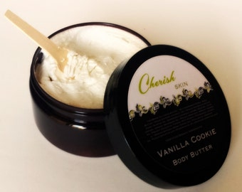 Vanilla Cookie Body Butter made with natural Organic, Vegan ingredients, pure cocoa butter, pure shea butter, 8 oz jar