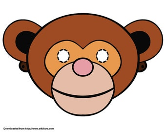 Monkey Mask, Custom Party Mask, Costume Mask, Costume Party Accessories, Handmade Mask, One size