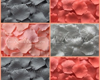 Coral Grey Rose Petal Blend - Silk Rose Petals for Coral Grey Theme Wedding