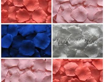 Coral Navy Blush Rose Petal Blend - 1,000 Silk Rose Petals