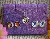 Disney Peter Pan Wendy And Tinkerbell Stud Earrings And 1cm Dainty Necklace Gift Set