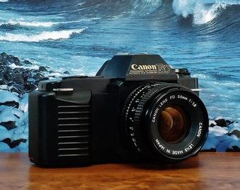 Vintage CANON T-50 SLR Auto Exposure ( AE ) Manual Focus 35mm Film Camera, Canon 50mm f/1.8 lens, Circa: 1983, Super Nice!