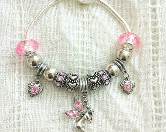 Fairy Heart Charm Silver Plated Bracelet 7.5 Inches