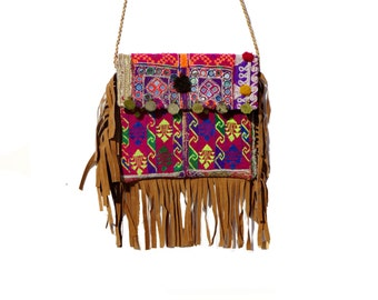 Indian Cotton Handmade Gypsy Banjara Suede Leather Shoulder Bag, Vintage Tribal Banjara Bag,Hand Crafted Ethnic Tribal Gypsy Bag.