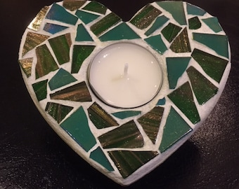 Green Mosaic Heart Tea Light Holder.  Love, I love you, present, romantic, romance.