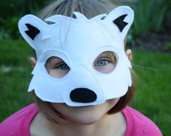 Handmade felt polar bear mask