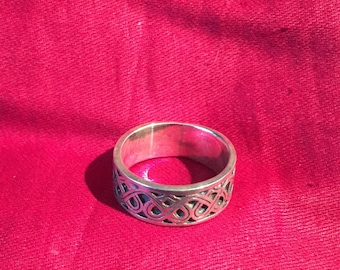 Vintage Ring-Sterling Silver band  Ring-Silver And Brass aring-Handmade Vintage Ethnic-Hippy-Gypsy.....