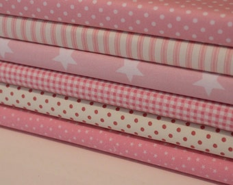 Pink Coordinating Fat Quarter Bundle - 100% Cotton, Quilting and Patchwork Fabric