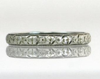 Antique Estate Art Deco 18K White Gold Eternity Wedding Band / Ring 1.7g 2.5MM