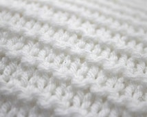 Hand Knitted Cushion. Knitted Scatter Pillow. Textured Cushion in Garter Stitch. Rectangle 50cm x 35cm.  Scandi White Knit