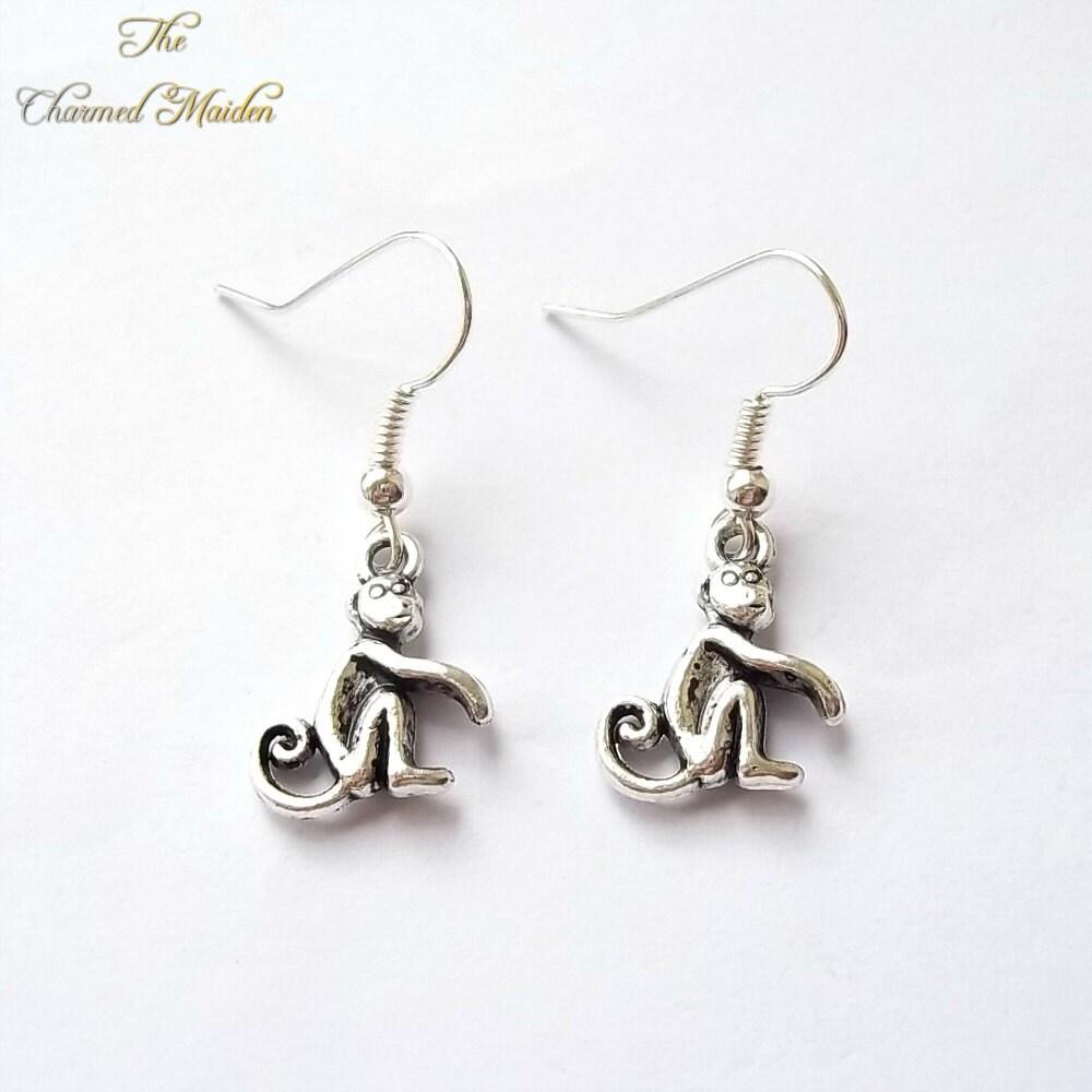 monkey earrings animal earrings silver charm earrings ape