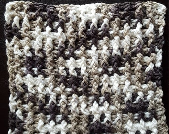 "Handmade Crocheted Dishcloth/Bathcloth, 100% Cotton, 6"" varigated. Brown, Tan and Cream"