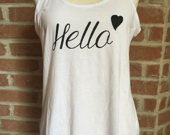 "Womens racerback ""Hello"" tank top."