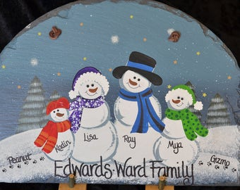 4 Person Snowman Family Slate, fully Customized and Personalized + FREE SHIPPING