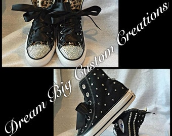 Bling Leopard Converse High Top