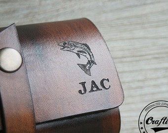 Fly Fishing Wallet, Leather Anniversary, Fly Fishing Flies Pocket Pouch Wallets,Personalized Name Fisherman gift box, Craftiveleather