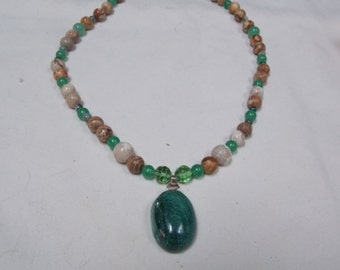 Hand made one of a kind Necklace W/ Malachite