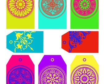 Printable Gift Tags Bright Medallions Commercial Use
