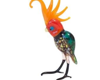 Hand-Blown Art Glass Parrot Figurine