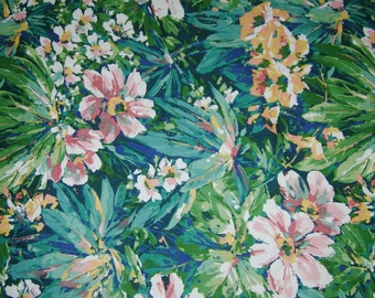 Vintage Large Floral/Flowered Upholstery Fabric, Dupont Teflon, 1991