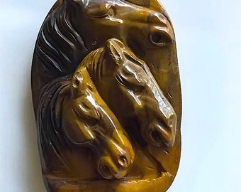 300ct Carved Horse Focal Bead - Natural Jasper to be made into a necklace/pendant