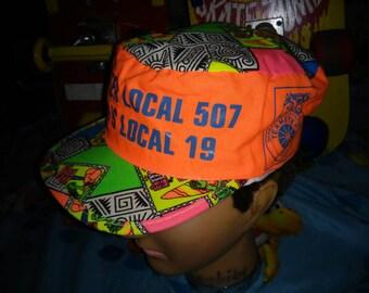 1980s DAY GLOW Iguana Don snapback neon vintage hat totally 80s loud pattern