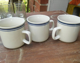 Country Chic Cream with Denim Blue Top Ring Stone ware Mugs