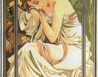 "Gobelin Tapestry Needlepoint Kit ""Mucha-Night's Rest"" printed canvas 334"