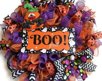 halloween deco mesh wreath - boo sign - deco mesh wreath - Jack-o-lantern