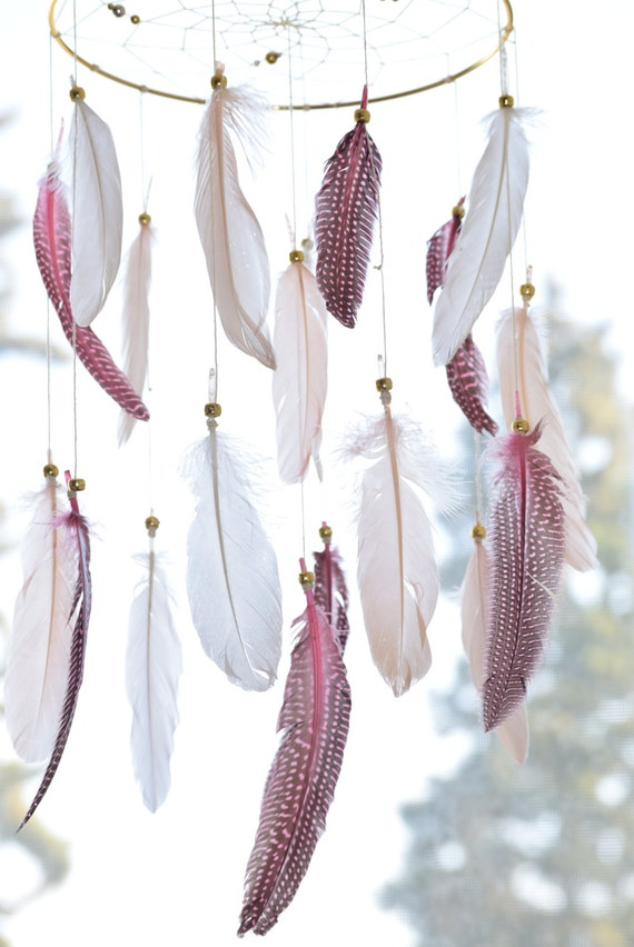 Girl Nursery Decor Baby Mobile Pink and by FeatherDreamcatchers