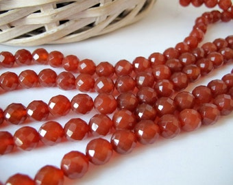 Red carnelian faceted round beads, Carnelian Gemstone Beads, 10mm, full strand