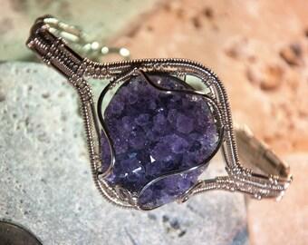 Sterling Silver Amethyst Woven wire bracelet