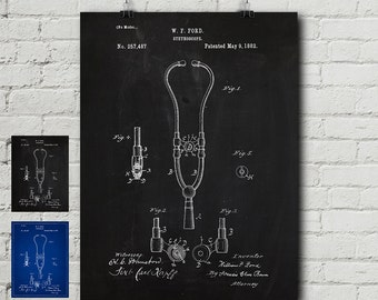 Patent medicine etsy stethoscope patent print medicine md doctor office vintage chalkboard malvernweather Gallery