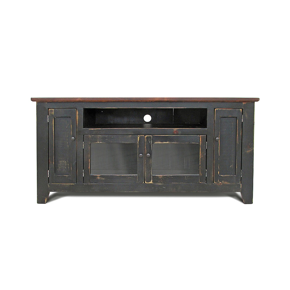 Media console tv stand reclaimed wood entertainment