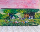 Country Rabbit Themed Easter Tin: Vintage CandyTin with Bunnies, a Garden and Eggs in a Rustic Setting