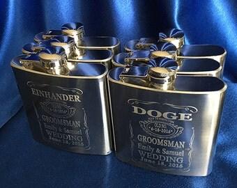 6 Personalized flasks - 6 Laser engraved Stainless Steel Flasks - Groomsman gift 6 drinking flasks - Laser engraved