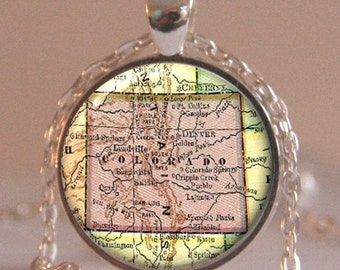 Colorado map pendant, Map Necklace, Map Charm, Map Jewelry, Colorado Pendant, Colorado Jewelry pendant, Colorado Jewelry, Jewelry