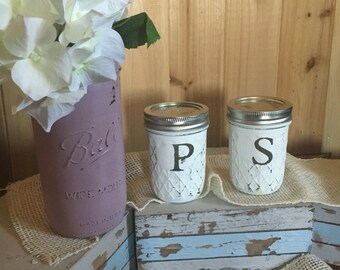 Distressed mason jar salt and pepper shakers bright white farmhouse rustic shbby chic