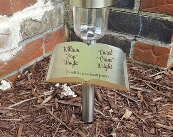 Personalized Grave Marker Solar Light for Pet or Loved One - Laser Etched Eternal Light